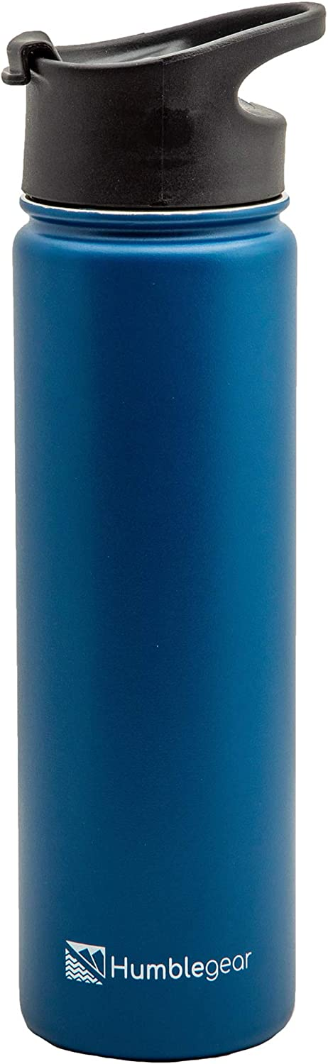 Humblegear Humble Gear Water Bottle, Happy Blue Sports Bottles, Vacuum Sealed, Insulated, 21 OZ, 1 Lid with Handle, Hot & Cold, Simple Stainless Steel Travel Flask Accessory