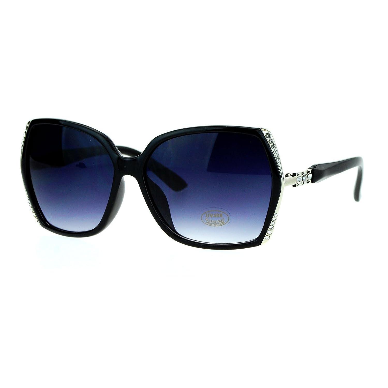 ae214bd8764 Amazon.com  Womens Fashion Sunglasses Square Frame Rhinestones Design UV  400 Black Silver  Clothing
