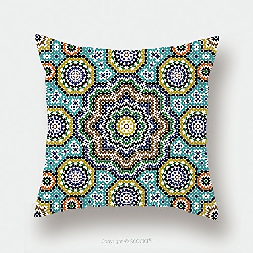 Custom Satin Pillowcase Protector Seamless Pattern In Moroccan Style Mosaic Tile Islamic Traditional Ornament Geometric Background 110168609 Pillow Case Covers Decorative by chaoran