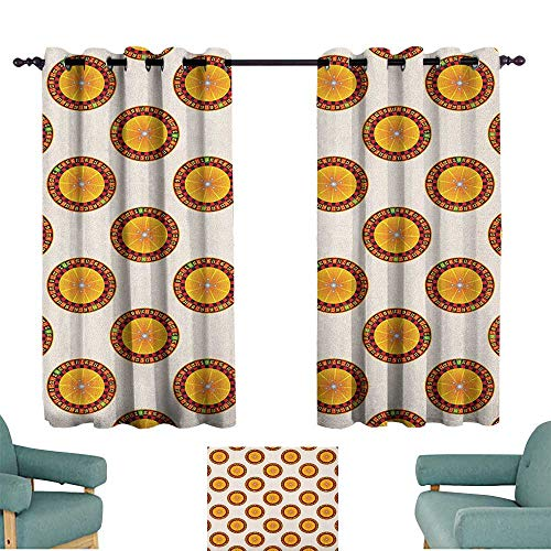 WinfreyDecor Casino Fashion Curtain Casino Roulette Cartoon Pattern Nights Vacations Parties Enjoyment Crowded Suitable for Bedroom Living Room Study, etc.55 Wx45 L Orange Red Black