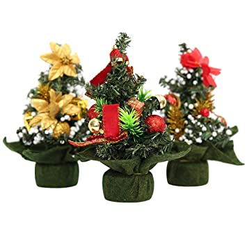 mini artificial christmas treesfunpa 3 pack miniature pine tree set with golden flowers red