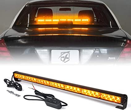 """12/"""" 24 Led Number License Plate Lamp Flash Warning Strobe Lights Amber Yellow"""