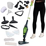 Koölle 10 in 1 Multi Steam Mop System, 1500W Hand Held Cleaner for Floor Cleaning, Hardwood Floors, Laminate Floors, Carpets, 2 Microfibre Pads, 10 Attachments - 2 Year Warranty