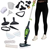 Koölle 10 in 1 Multi Steam Mop - 1500W Power Hand Held Cleaner for Hardwood Floors, Laminate, Carpets With 10 Attachments And 2 Microfibre Pads - 2 Year Warranty
