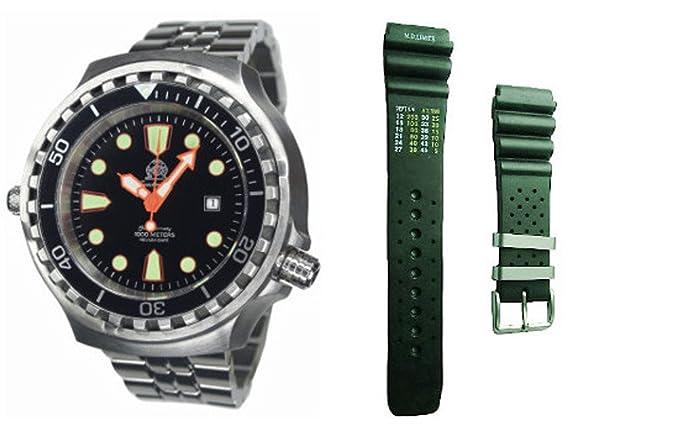 RELOJ AUTOMÁTICO DE BUCEO PROFESIONAL XXL CORREA DE CAUCHO COLOR NEGRO: Tauchmeister: Amazon.es: Relojes