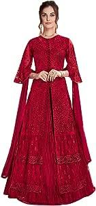 Red Straight Kurti Lehenga Net Skirt Punjabi Muslim Wedding Festival Salwar Kameez Suit Indian 7887 19