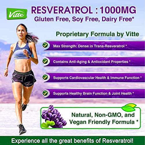 61ywINnNksL - 100% Pure Resveratrol 1000mg Per Serving Max Strength 180 Capsules Antioxidant Supplement Extract Natural Trans-Resveratrol Pills for Heart Health and Weight Loss Made in USA