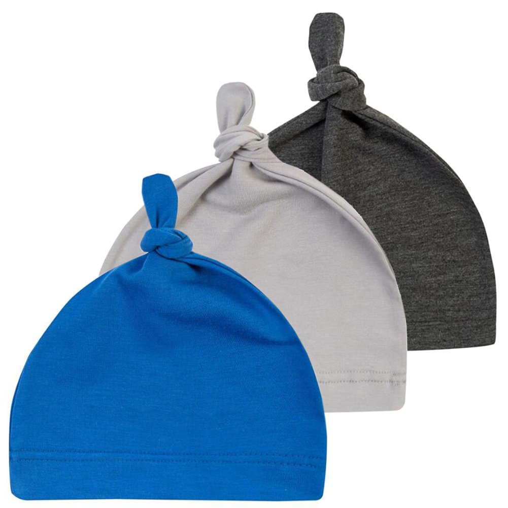 October Elf 3 Pack Unisex Baby Cotton Adjustable Knot Hat Beanie Cap E