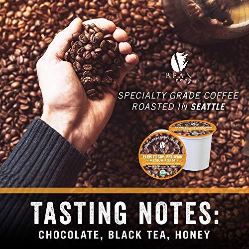Bean Envy Organic Single Serve Coffee Pods - Fair Trade, Specialty Grade, Small Batch, Medium Roast- Compatible With Keurig Brewers - Peruvian (16ct)