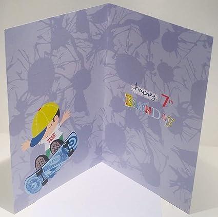7/ème carte danniversaire pour gar/çon Skateboard Motif.