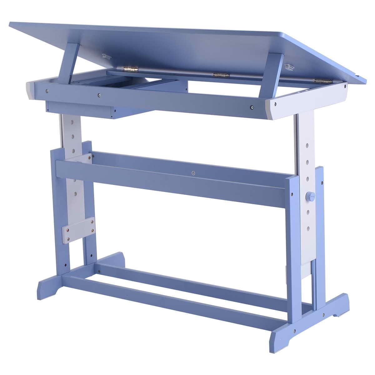 Bureau enfant ergonomique table inclinable réglable meuble de dessin et lecture (Bleu) Blitzzauber24