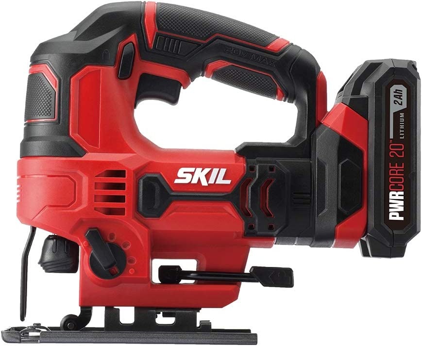 SKIL 20V 7 8 Inch Stroke Length Jigsaw, Includes 2.0Ah PWRCore 20 Lithium Battery and Charger – JS820302