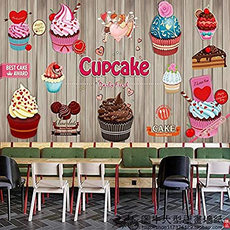 Mural Papel Pintado Papel Tapiz Dulce De Leche Fluida Tea Shop Pastel Pan Wallpaper Wallpaper Cartoon Helado Frutas Cafe Grandes Murales: Amazon.es: ...