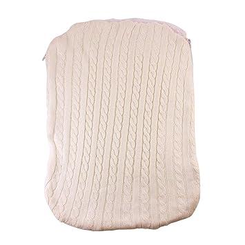 LANDUM Bebé Engrosamiento Swaddle Infantil Saco de Dormir de Punto Cochecito con Cremallera Diseño Saco de Dormir - Beige: Amazon.es: Hogar