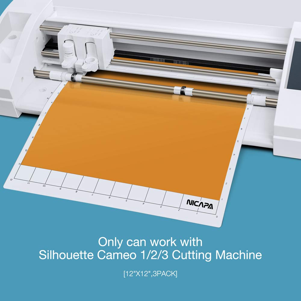 Nicapa Replacement Cutting Mat for Silhouette(12x12 inch 3pack-Standardgrip、Lightgrip、Stronggrip) Adhesive&Sticky Non-Slip Flexible Square Gridded Cut Mats Set Matts Vinyl Craft Sewing Cloth by NICAPA (Image #2)