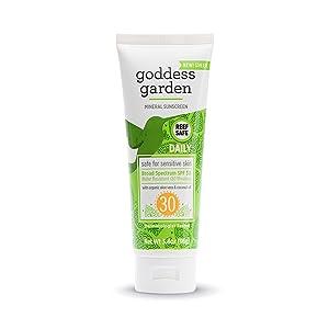Goddess Garden - Daily SPF 30 Mineral Sunscreen Lotion - Sensitive Skin, Reef Safe, Sheer Zinc, Broad Spectrum, Water Resistant, Non-Nano, Vegan, Leaping Bunny Cruelty-Free - 3.4 oz Tube