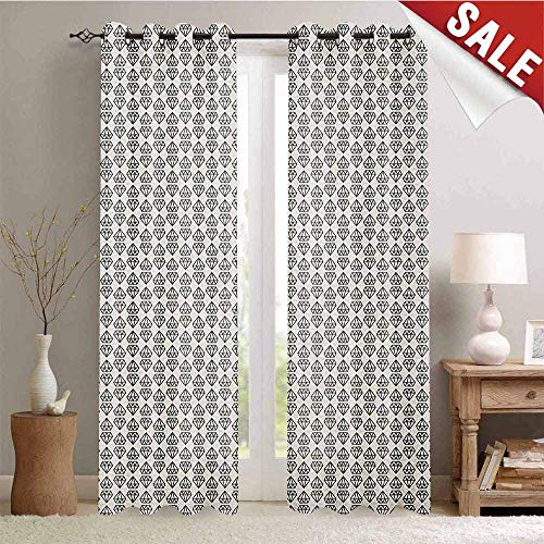 Flyerer Diamonds, Decorative Curtains for Living Room, Monochrome Geometrical Design with Up and Down Pattern Triangles Abstract Pattern, Waterproof Window Curtain, W96 x L108 Inch Ivory Black