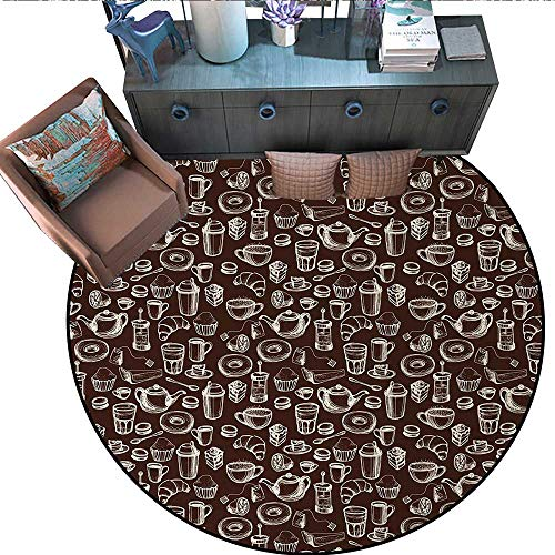 Brown and White Non-Slip Round Rugs Hand Drawn Style Pattern with Coffee Tea Cups Donuts and Sweets Living Dinning Room and Bedroom Rugs (59