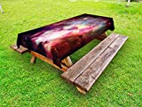 Lunarable Outer Space Outdoor Tablecloth, Image of Magical Gas Cloud Nebula in Outer Space with Galaxy Solar Zone Print, Decorative Washable Picnic Table Cloth, 58 X 120 inches, Purple Red