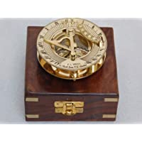 RHTAJUS Brújula de latón con reloj de sol