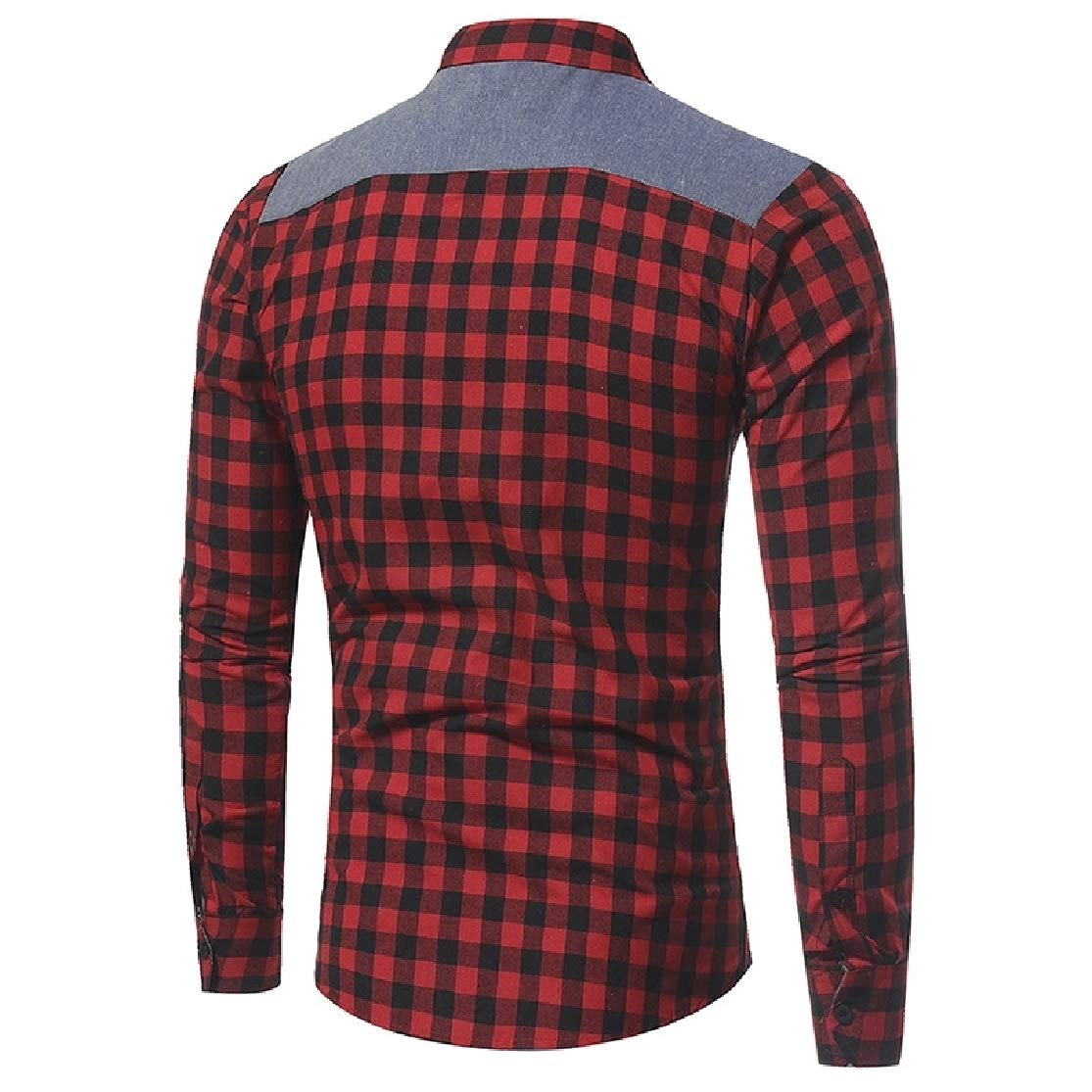 Colourful Mens Plaid Office Long-Sleeved Contrast Color Slim Fit Button Down Dress Shirt