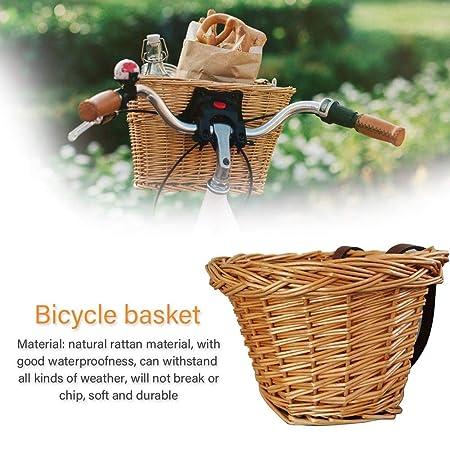 bouncevi Cesta o Canasta de Mimbre Retro para Bicicleta - Accesorio Patinete o Bicicleta - Hecha a Mano con Correas de Cuero - Compatible con Patinete ...