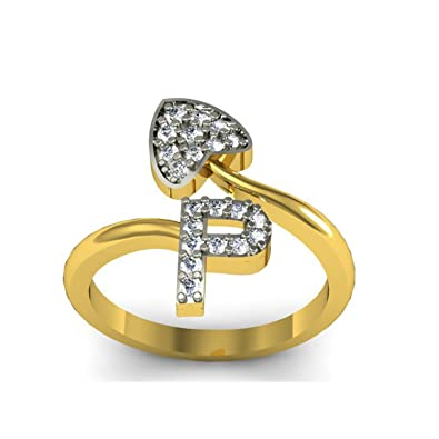 Buy Jewelscart P Letter Cz Initial Man Women 18K Gold Plated