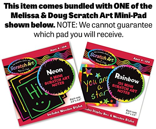 58018 Scratch Art 4-Sheet Pack FREE Melissa /& Doug Scratch Art Mini-Pad Bundle Rainbow
