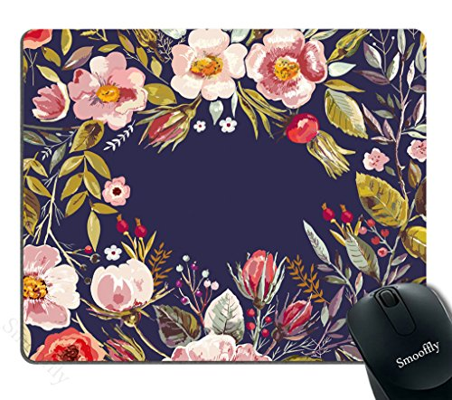 (Smooffly Gaming Mouse Pad Custom,Mouse Pad Unique Custom Printed Mousepad Vintage Hand Drawn Floral Wreath Stitched Edge Non-Slip Rubber 9.5x7.9-Inch)