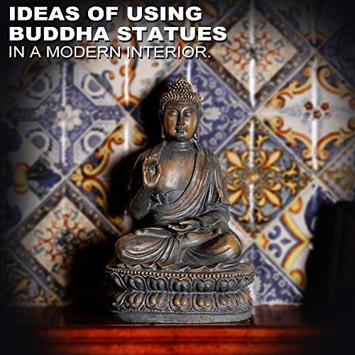 ARAIDECOR Buddha Sculpture Decor Home & Outdoor Garden Statue - 15 x 8.7 x 10.2 (Outdoor Garden Statue Sculpture)