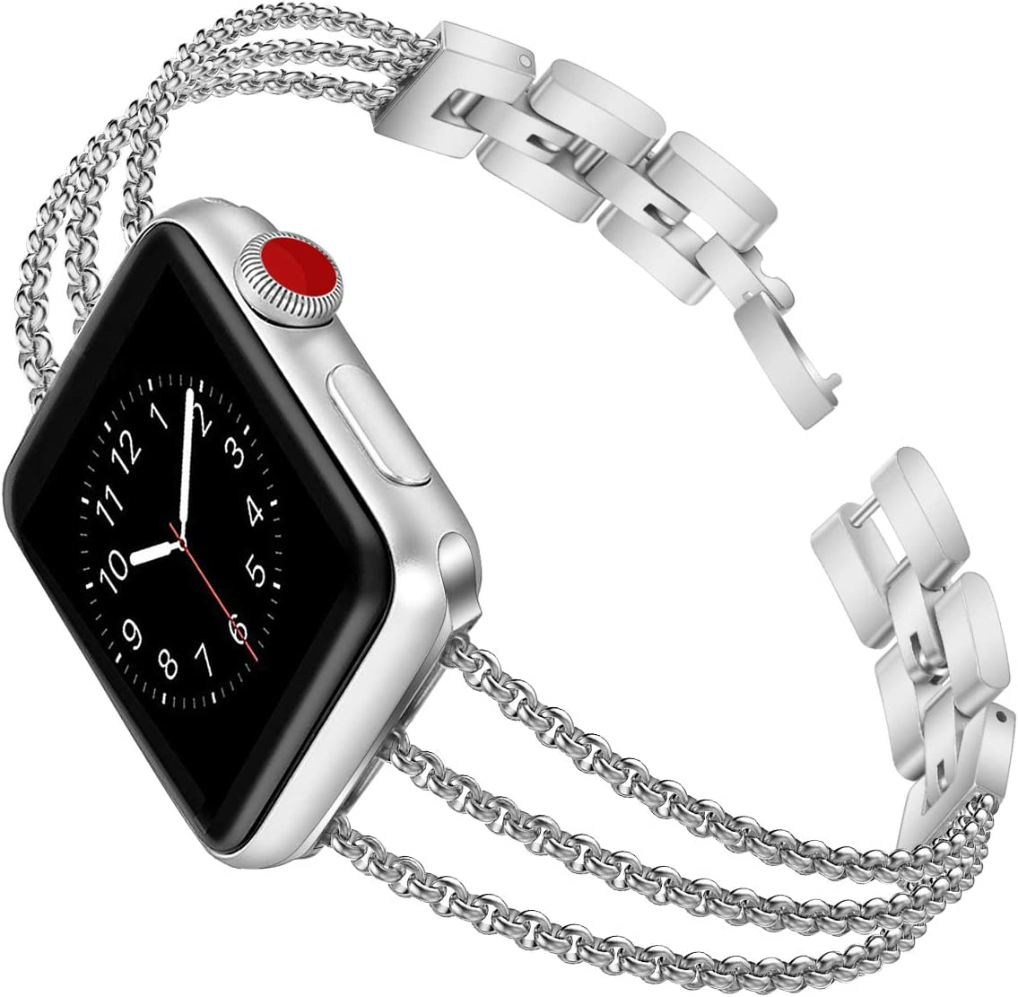 Biaoge Metal Band Compatible for Apple Watch Band Series 4 40mm 44mm/ iWatch Series 6 SE 5 3 2 1 38mm 42mm, Adjustable Stainless Steel Replacement Wristband Strap Cuff Bangle Bracelet (Silver, 38mm)