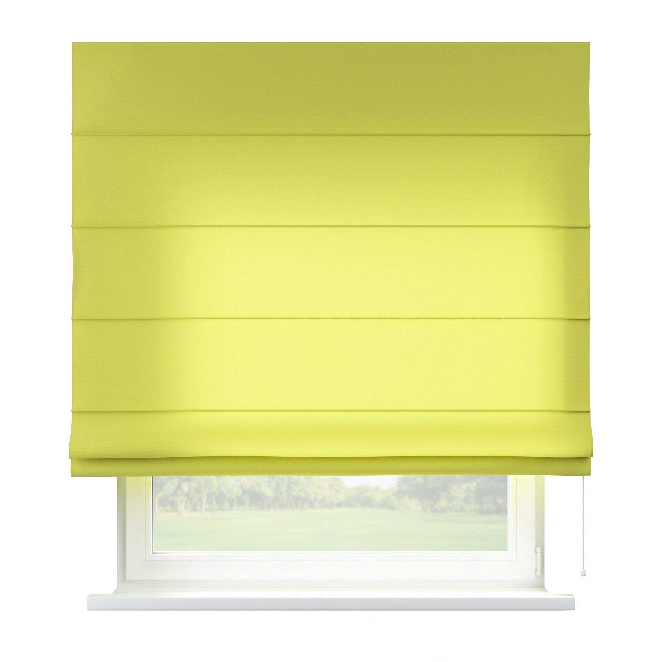 Dekoria Raffrollo Capri ohne Bohren Blickdicht Faltvorhang Raffgardine Wohnzimmer Schlafzimmer Kinderzimmer 130 × 170 cm Limone Raffrollos auf Maß maßanfertigung möglich