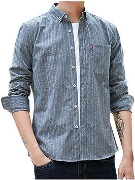 Camisa de Manga Larga Informal a Rayas para Hombre Routinfly Nueva Camisa Casual Slim fit con Botones Estampados Top Camisa Blusa con Cuello Alto rovado: Amazon.es: Hogar