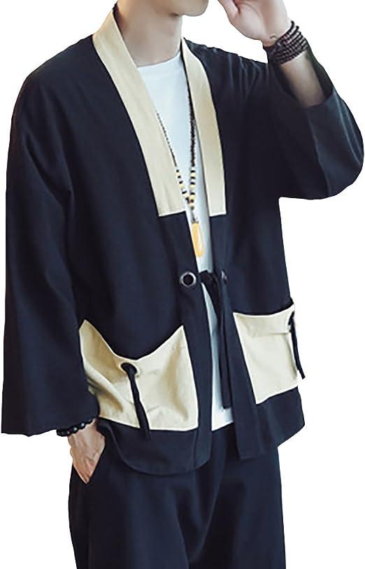 Men Japanese Yukata Coat Kimono Cardigan Outwear Cotton Vintage Loose Top