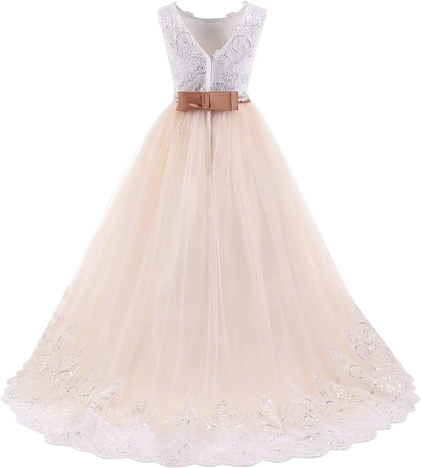 luolandi Ivory Long Lace Flower Girl Dresses Champagne Less Party Dress