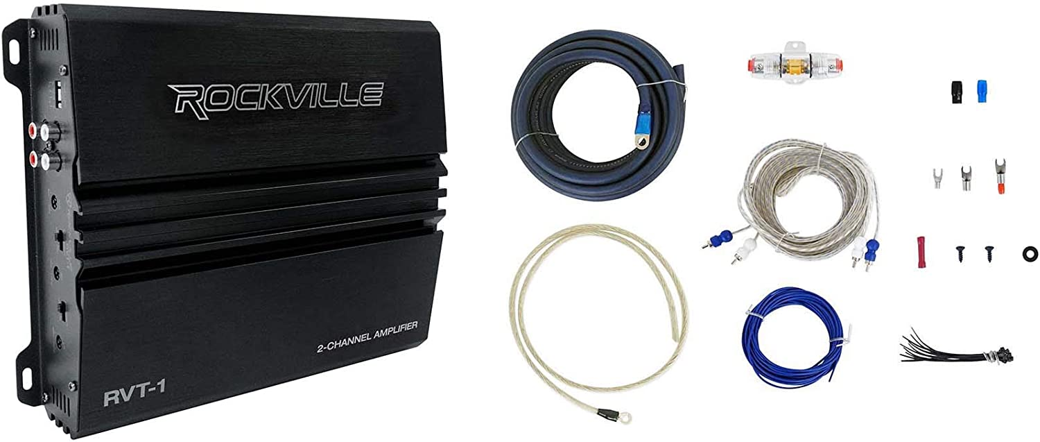 Rockville RVT-1 1000 Watt 2 Channel Car Stereo Amplifier+Memphis Audio Amp Kit