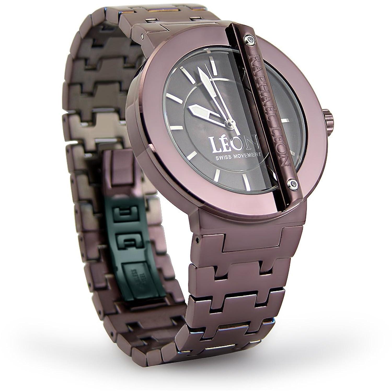 RaphaelレオンクラシックIIチョコレートイオンoverステンレススチールSwiss Movement Designer Watch with MOPダイヤル B00BC344YW
