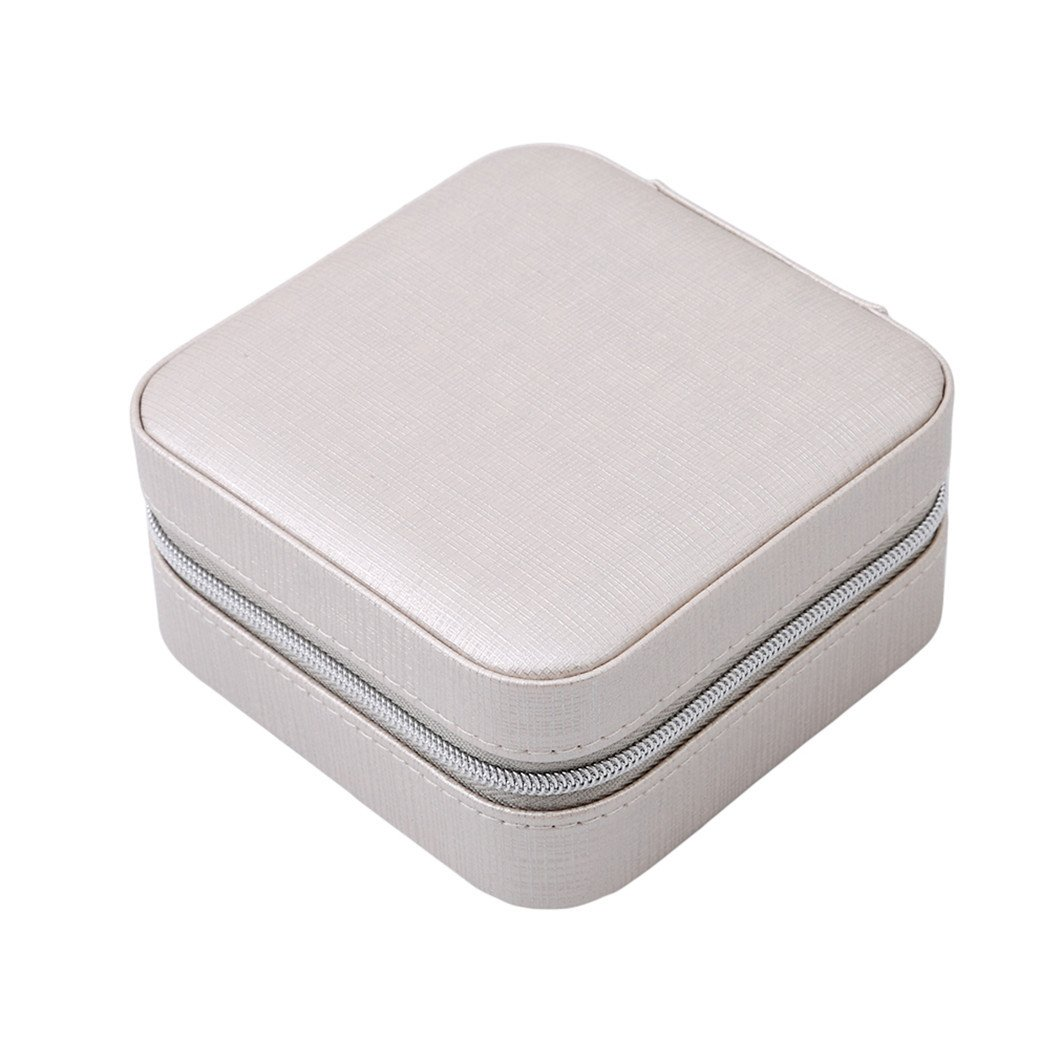 Silver Gluckliy Faux Leather Portable Travel Small Jewelry Box Jewelry Storage Case Organiser with Makeup Mirror for Rings Earrings Necklaces
