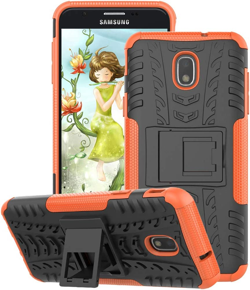 Case for Samsung Galaxy J3 2018, Galaxy J3 Achieve, Galaxy Amp Prime 3, Galaxy J3V / J3 V 2018, Galaxy Express Prime 3, Galaxy J3 Star, Sol 3, J3 Orbit, J3 Aura, GSDCB Phone Case with Kickstand Orange