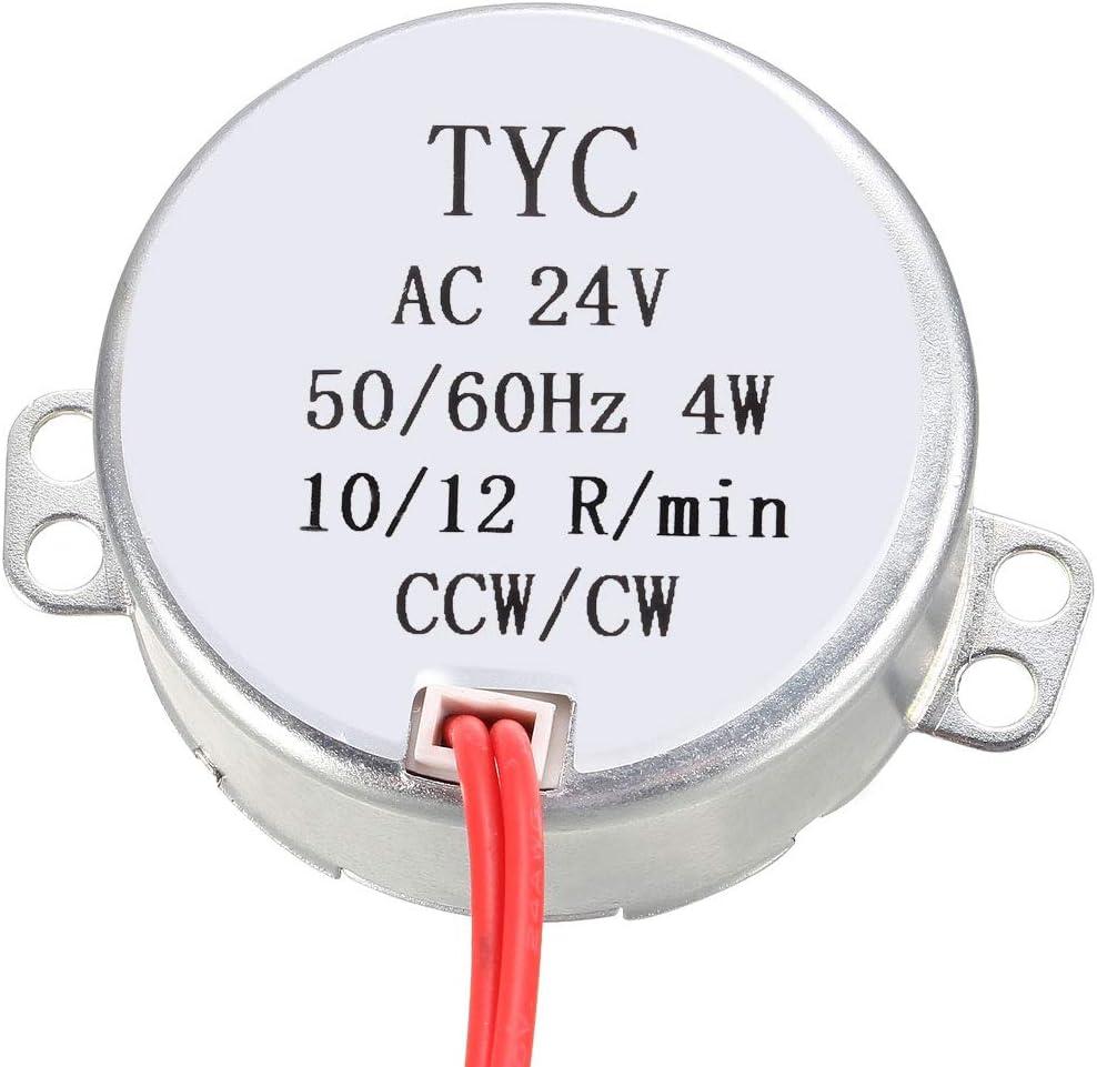 sourcing map Synchrone Moteur AC 24V CCW//CW 4W Plaque Tournante Engranage Bo/îte pour Four Micro-onde 1.4-1.7RPM