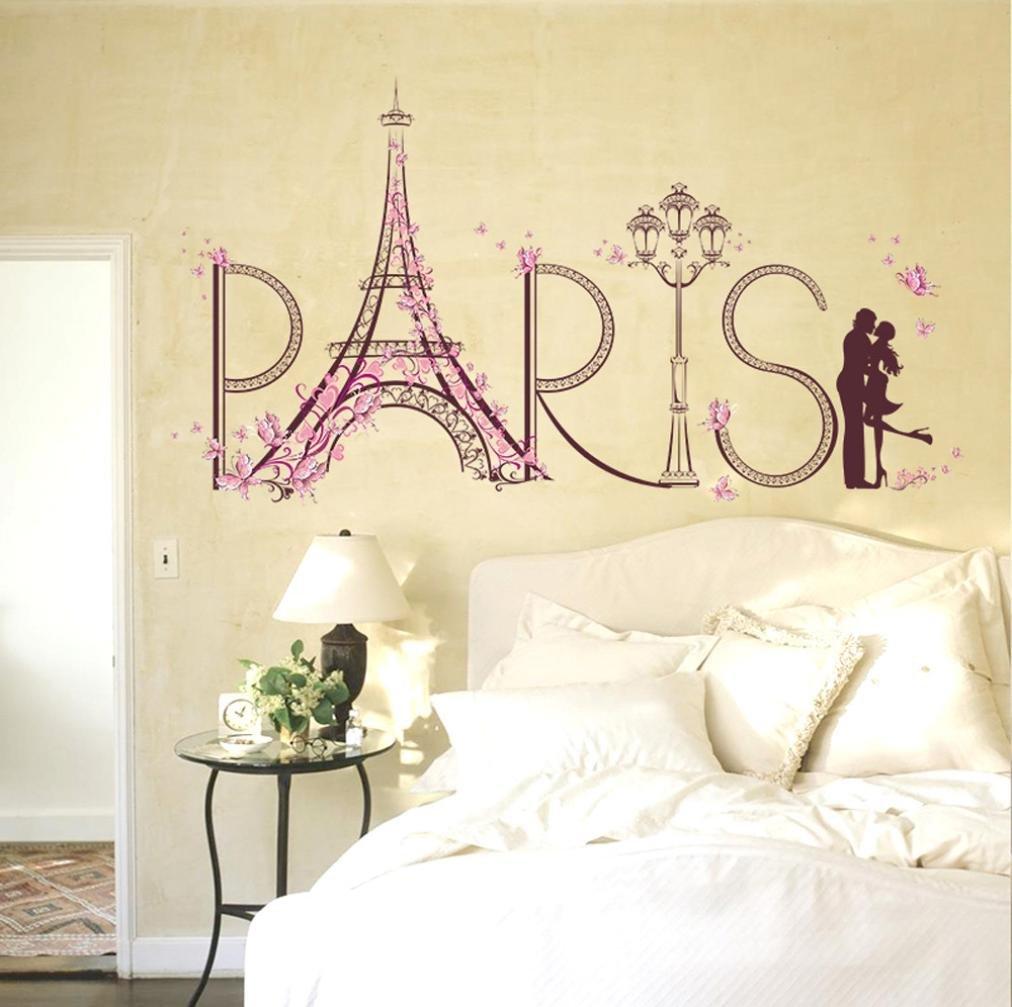 Amazon.com: Wall Sticker,Saingace Home Decor PARIS Wallpaper Romance ...