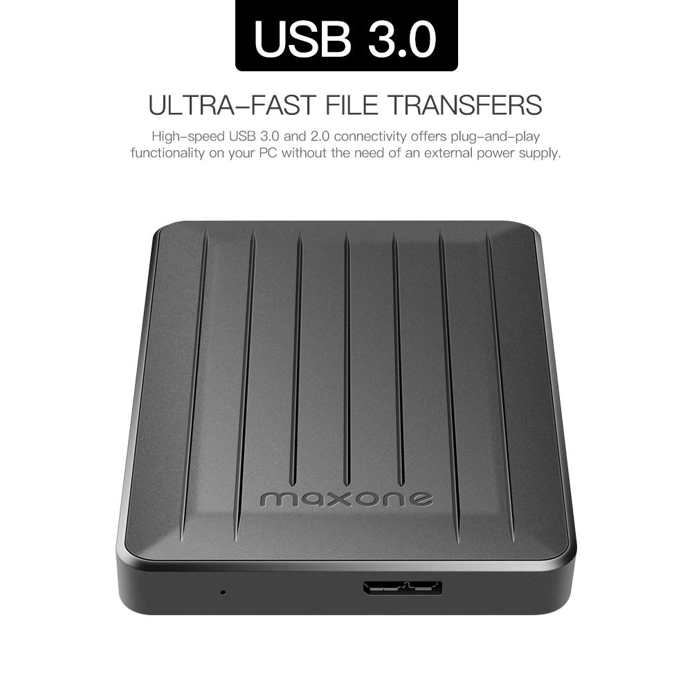 160GB Portable External Hard Drive- 2.5 Inch External Hard Drives for Laptop,Desktop,Wii U,MacBook,Chromebook (160GB, Black) by Maxone (Image #3)