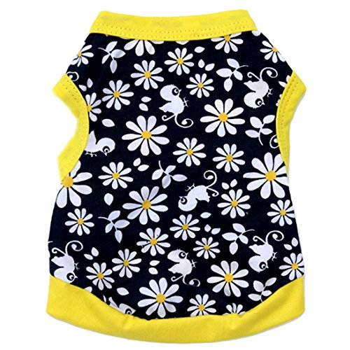 Small Dog Shirt, Voberry Fashion Summer Pet Dog Girls Flowers T-shirt (M, Yellow)