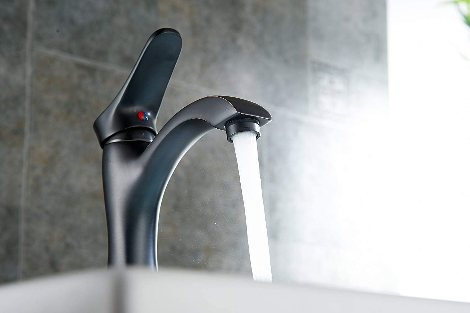 BWE Bathroom Sink Faucet with Supply Line Oil Rubbed Bronze Single Handle One Hole Lavatory Faucets Basin Mixer Tap - -