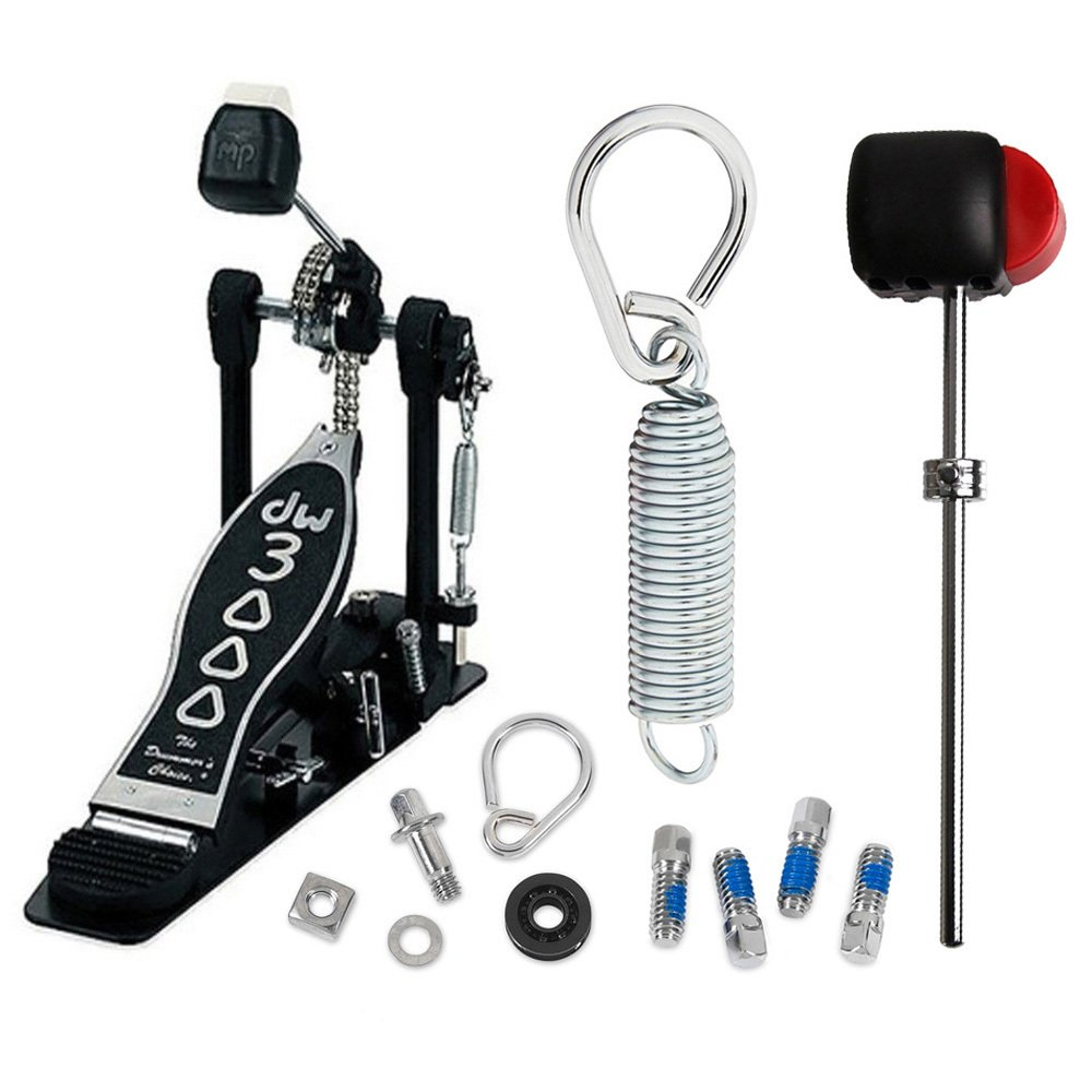 DW 3000 Single Bass Pedal DWCP3000 Deluxe Bundle Includes Flyweight Beater, Spring Insert, Drum Key Screw and Rocker Assembly with Bearing Rocker Drum Workshop