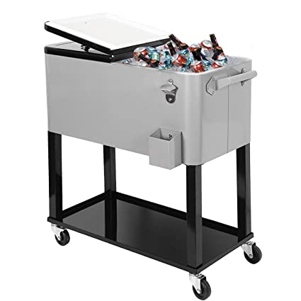 Clevr 80 Qt Outdoor Patio Cooler Rolling Cooler Ice Chest Tub, Grey,  Portable Patio