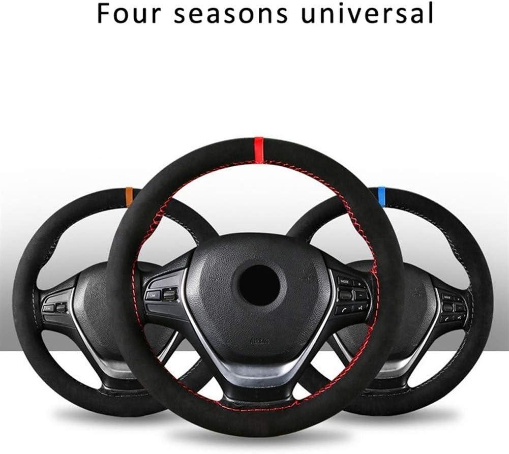 Color Name : A RJJX Home Sport Style 38cm Cuatro Estaciones Rojo Gamuza Material Durable Cuero de la Trenza Cubierta del Volante Accesorios del Coche