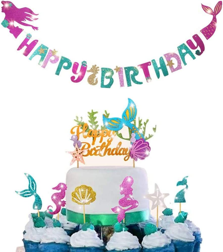 Mermaid party decoration - sparkling mermaid shaped birthday banner +1 mermaid birthday cake Topper and 24 pieces (6 styles) mermaid cupcakes Topper, perfect for birthday parties, baby showers, mermaid themed parties, Under The Sea Party