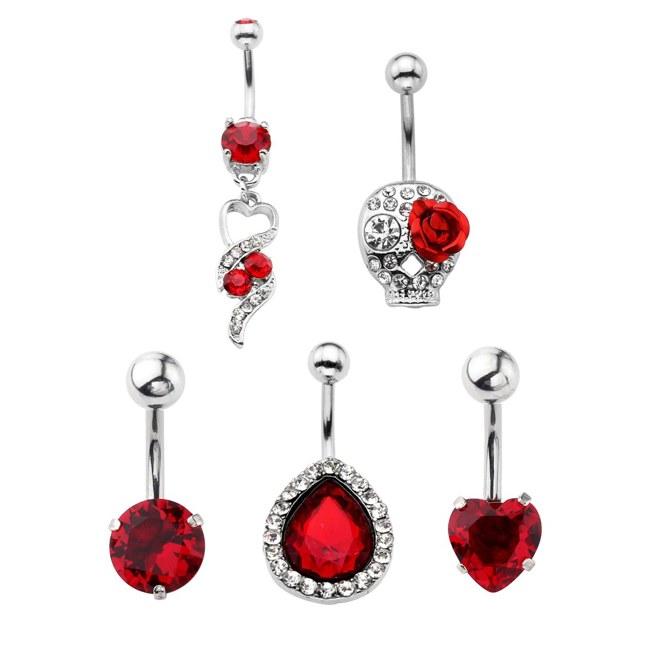 Jovivi 5pcs 14G Stainless Steel Belly Button Rings Dangle Bar Jewelry Set, with Gift Box by Jovivi