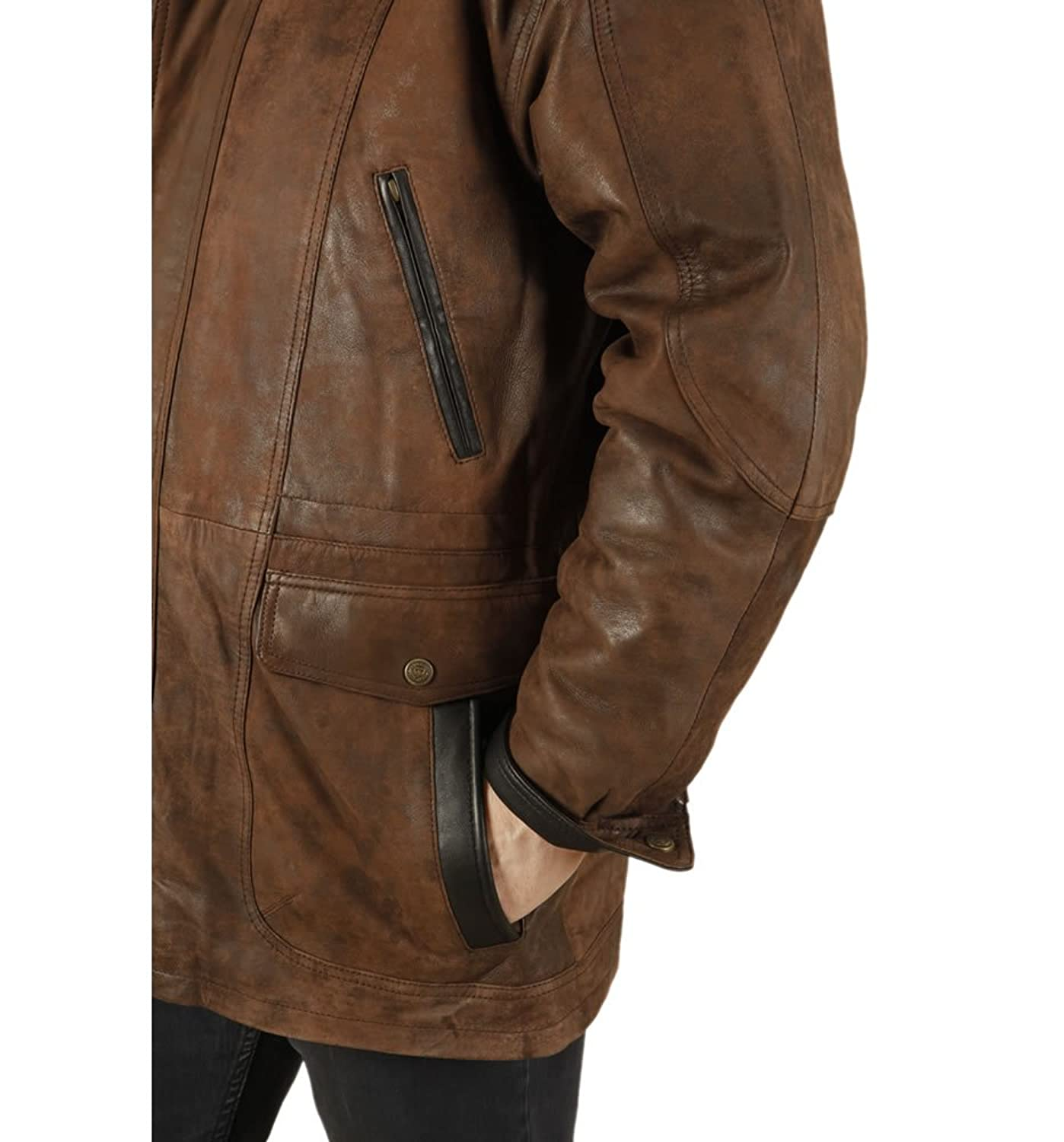 Simons Leather Men's 3/4 Length Buff Leather Parka Leather Coat at